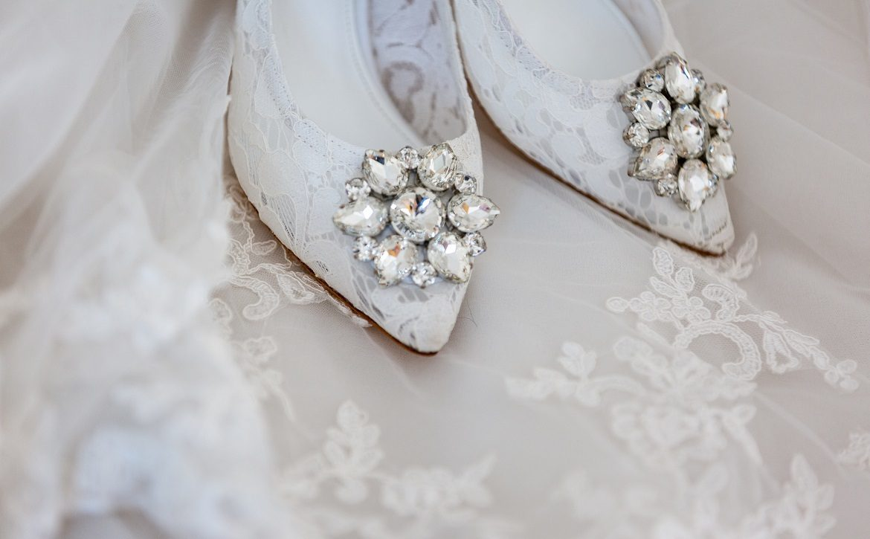 White wedding dress and white wedding shoes
